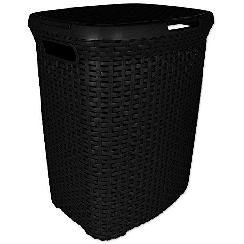 Wäschekorb- Wäschebox - Wäschetruhe Rattan aus Kunststoff schwarz