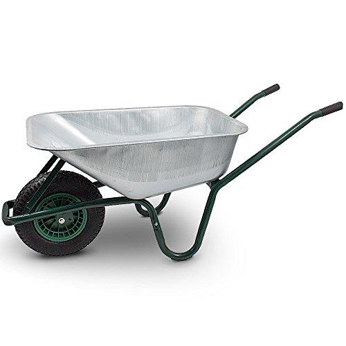 BITUXX® Schubkarre 100L Schubkarren Schiebkarre Bauschubkarre Verzinkt mit Luftreifen bis 250kg -