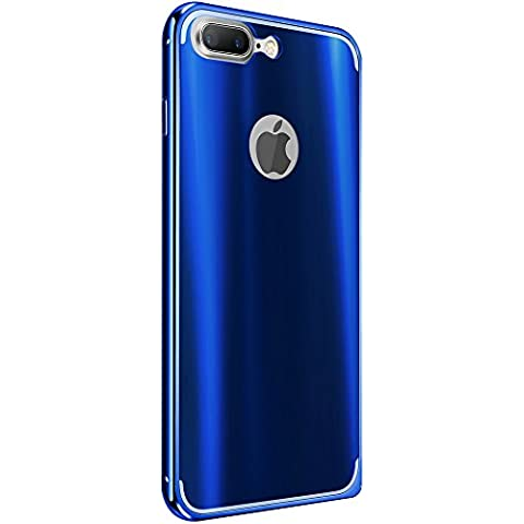 Custodia iPhone 7 Plus,Grandcaser Hybrid Custodia Aluminum Metal Frame Bumper + Dazzle Back Panel Protettiva Cover per iPhone 7 Plus (2016) - Blu