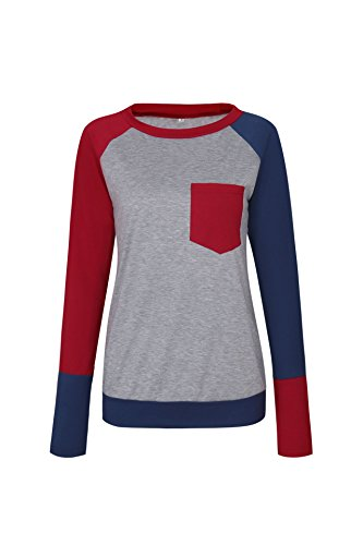 Freestyle Femme Printemps Pulls avec Poche Tee Shirt Haut Sweat-Shirts Unique Couleur Couture T-Shirts Sweats Casual Top à Manche Longue Blouses Vin rouge