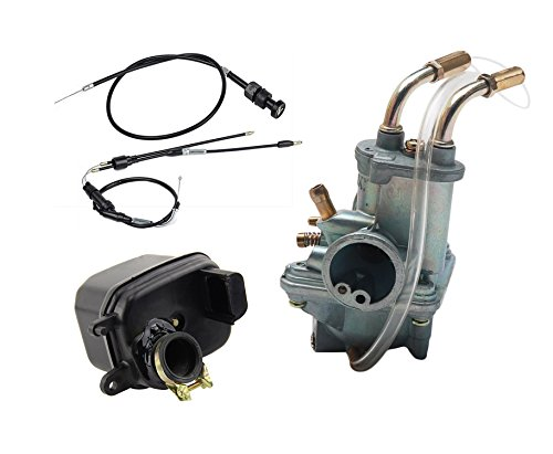 OuyFilters Carburetor for Yamaha PW50 PW 50 Yzinger 1981-2009 Motorcycle Carb With Air Filter Cleaner Box Assembly Throttle Gas Cable And Choke Cable