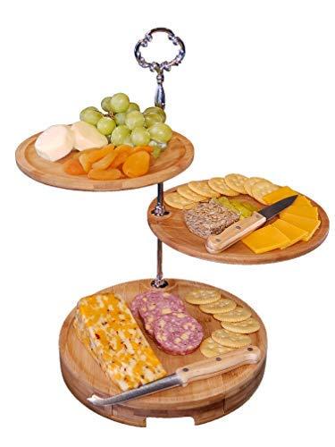 Hosting Eleganz Käse Brett, 3Etagen Bambus Käseplatte und Messer-Set für Picknicks und Partys-stabile Setup, 25,4cm Durchmesser (Setup Server)