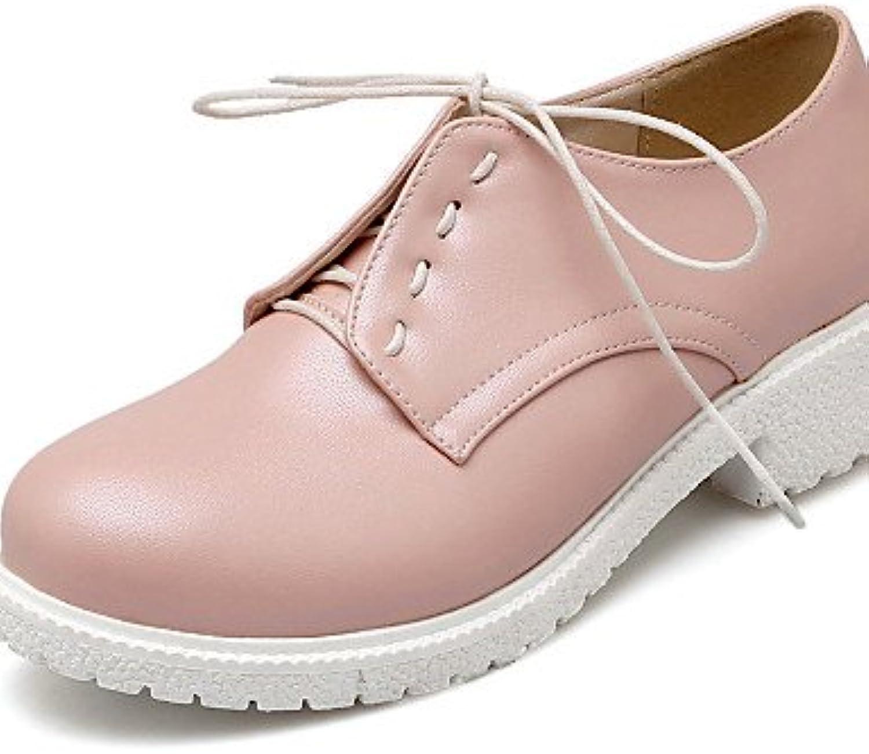 ZQ Zapatos de mujer - Tacón Robusto - Punta Redonda - Oxfords - Oficina y Trabajo / Vestido - Semicuero - Rosa...
