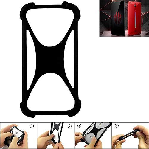 K-S-Trade® Handyhülle Für Nubia Red Magic Mars Schutz Hülle Silikon Bumper Cover Case Silikoncase TPU Softcase Schutzhülle Smartphone Stoßschutz, Schwarz (1x),