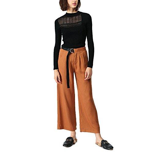 CICI RAN Frauen Strick Sexy Langarm Rundhals Strick Pullover Hollow Design Pullover
