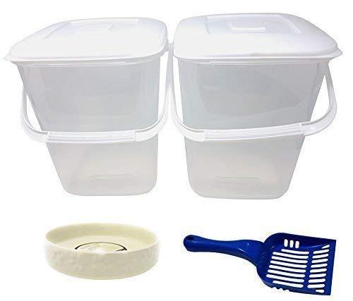 5 X Pce Animal de Compagnie Kit PLASTIQUE Rangement Nourriture Tubes Bleu Cuillère Crème Porcelaine Patte Gamelles pour Chat