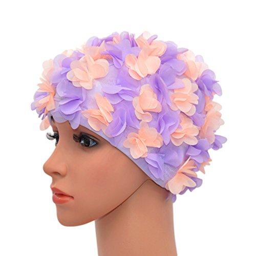 Medifier - Gorro de baño de Encaje Vintage con pétalos Florales Estilo Retro, para Mujer, Purple and Light Pink