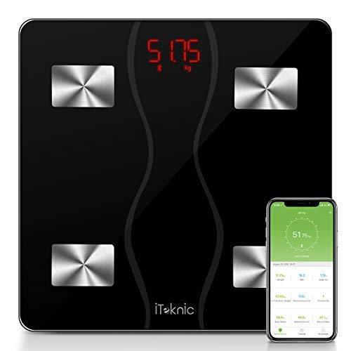iTeknic Digital Personenwaagen Körperfettwaage Digitale Körperanalysewaage Bluetooth Körperwaage mit APP BMI Gewicht Körperfett Fitness-Monitor aus Gehärtetes Glas, bis 180kg 400lb, MEHRWEG -