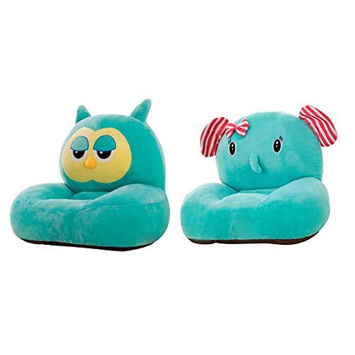 KESOTO 2 Stücke Kindersofabezug Kindersessel Minisofa Bezug Sofa Couch Stuhl Schonbezug aus Plüsch, Elefant und Eule Form -