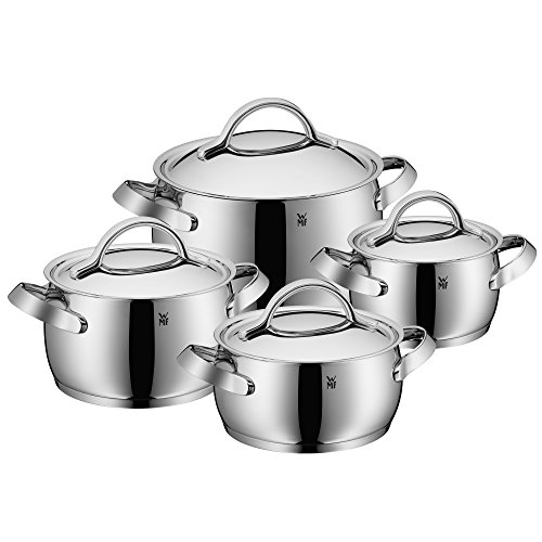 WMF cookware set 4-piece Concento Inside scaling  vapor hole Made in Germany hollow side handles metal lid Cromargan stainless steel brushed suitable for all stove tops including induction dishwasher-safe