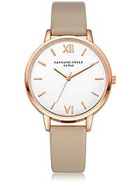 Relojes Mujer,Xinan Reloj de Pulsera Reloj Redondo Cuero Imitación (Khaki)