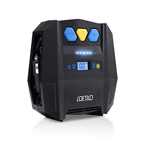 LOETAD Compresor de Aire Digital Inflador Eléctrico Portátil Automático para Neumáticos Coche DC 12V 150 PSI Máximo con Luz LED Cable 3M