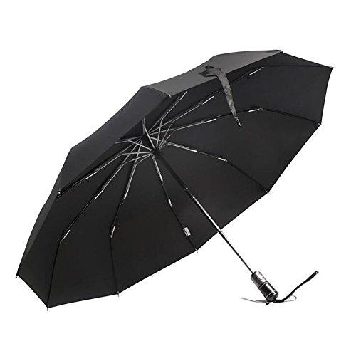 zdtech ombrello automatico da viaggio Auto apertura e di chiusura pieghevole Ombrelli con manico in pelle, antivento, compatto per un facile trasporto nero Black
