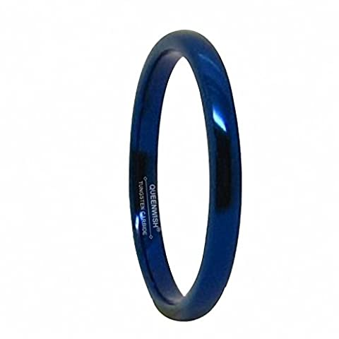 Queenwish 2mm Blue Wedding Band Classic Domed Tungsten Engagement Rings Comfort Fit Men Women Promise Ring