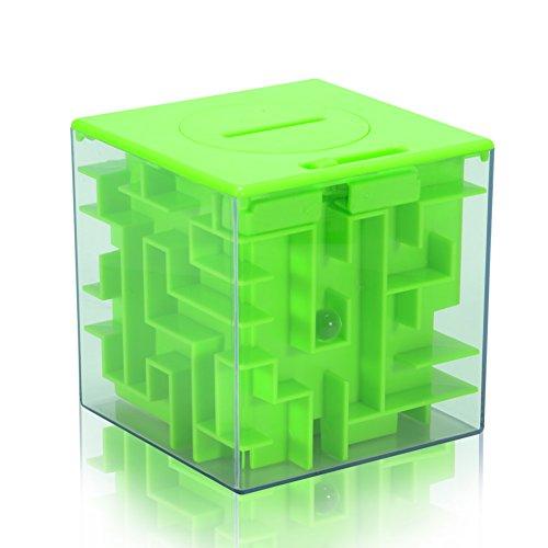 Spardose Maze Puzzle Spardose Money Saving Box, Bank Maze Money Cube, Ecke Cash Bills Aufbewahrungsboxen für Kinder Kinder, großes Geschenk für die Entwicklung Intelligenz grün
