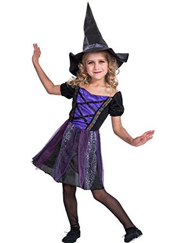 EraSpooky Mädchen Märchen Classic Halloween Hexe Kostüm Fancy Dress mit Hut