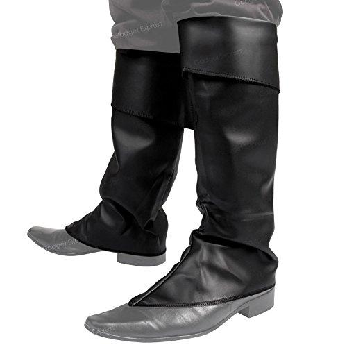 Herren-Gamaschen mit Umschlag, Einfarbig, Kunstleder, Kostüm, Schwarz (Viktorianische Schuhe Stiefel)