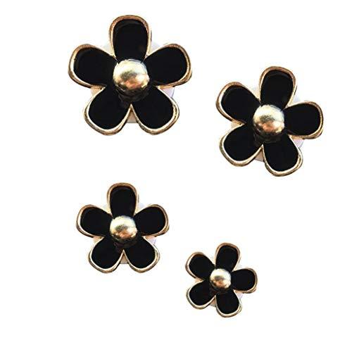 bismarckber 4 Stück/Set Gänseblümchen Blumen Auto Lufterfrischer Parfüm Aroma Clip Diffusor Auto Dekoration, Legierung, Schwarz, Einheitsgröße -