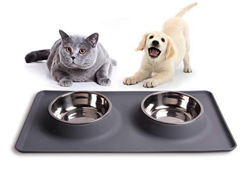 100% sauber: Silikon-Napfunterlage für Ihren Hundenapf oder Katzennapf grau