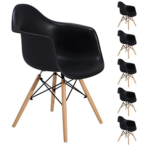 EGGREE Lot von 6 Esszimmerstuhl, Retro Stuhl Beistelltisch mit solide Buchenholz Bein - Schwarz -