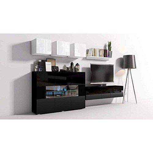 JUSThome Onyx I C LED Wohnwand Anbauwand Schrankwand Weiß Matt | Schwarz Hochglanz