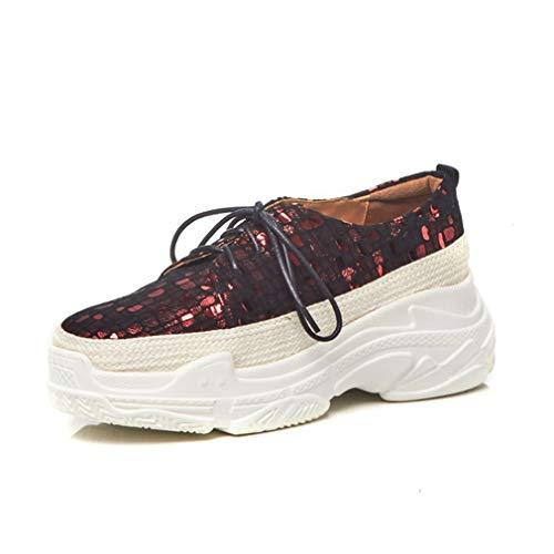 Dick-Gelöed-Paart-Riemen Mode Wilde Europäische Und Amerikanische Casual-Schuhe,Red,39Uk