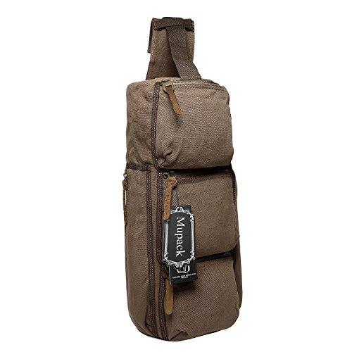 Retro Reisetaschen Canvas Mupack Herren Damen Weekender Outdoor Wander Schultertaschen Kaffee Kaffee