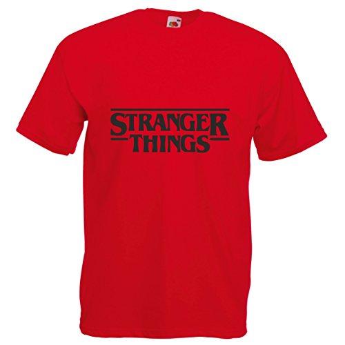 Camiseta con el Logo Impreso del título de la Serie de Netflix Stranger Things - S - Rosso