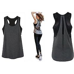 POUREVE Camiseta Sin Mangas Deportiva Sujetador para Mujer, 2 en 1 Chaleco Deportivo para Mujer de Secado Rápido Camiseta Top Deportivo Mujer (Gris + Negro, XL)