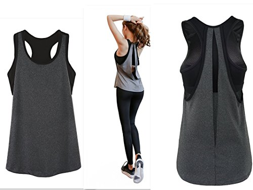 POUREVE Damen Sport Tank Top, 2 in 1 Damen Sport BH Weste Quick Dry Sexy Top Strapless Gym Sport Tops Training Tank Top Sommer Tanktops Loose