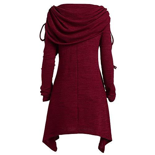 Vovotrade ❄ top a manica lunga con colletto a pieghe, camicia da nappa a maniche lunghe con risvolti lunghi plissettati da donna