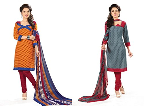 BanoRani Womens Combo Haldi Yellow & Grey Color PolyCotton Unstitched Dress Material