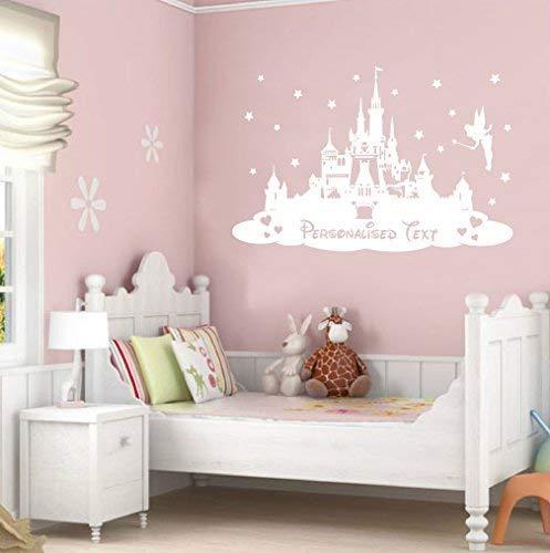 Personalisierte Wandsticker für Kinder von TheStickerStop, Disney-Märchenschloss, Vinyl, Large - 580 x 900mm