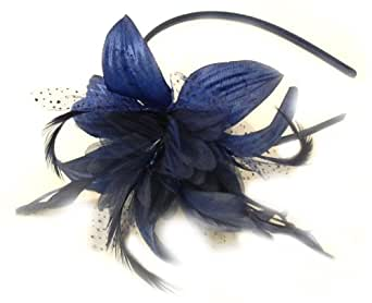 GIZZY® Ladies Chiffon Flower and Feather Fascinator on Headband.