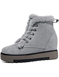 ZHUDJ Chaussures Pour Femmes Bottes Bottes De Neige D'Automne Talon Bout Rond Bowknot Pour Un Bleu Foncé Gris Gris Noir,Nous,8 / Eu39 / Uk6 / Cn39