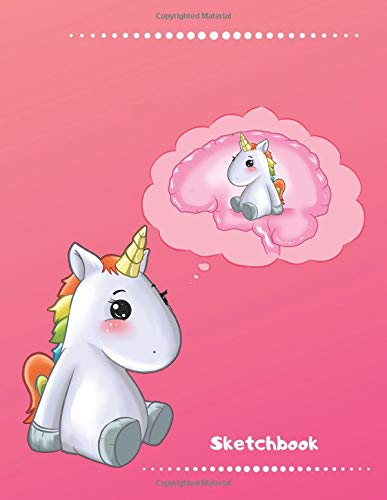 Sketchbook: Cute Kawaii Thinking Unicorn Sketchbook for Girls. 110 Pages Blank Paper for Doodling, Drawing & Sketching. Funny Unicorn Party Favors & Novelty Unicorn Gift Idea for Kids & Unicorn Lover.
