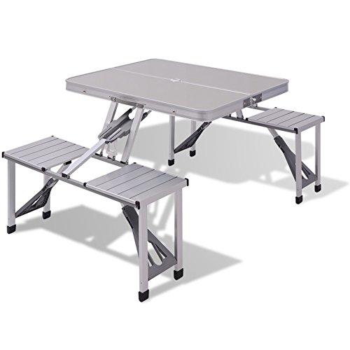 Keraiz extérieur Aluminium Portable Pliable Table de Pique-Nique de Voyage Table de Camping avec 4 Assise