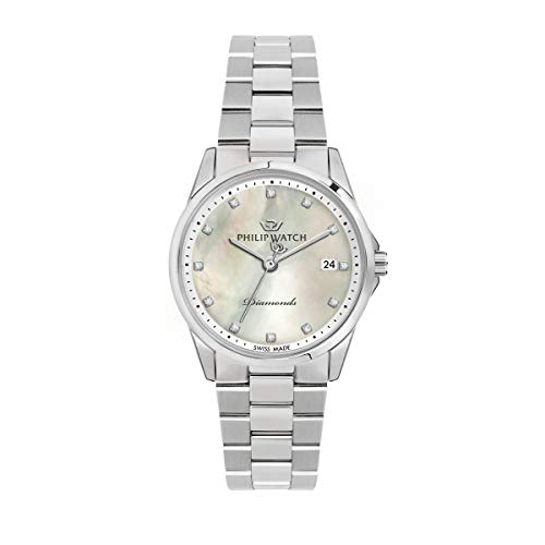 Philip Watch Orologio da donna, Collezione Capetown, con movimento al quarzo e funzione solo tempo con data, in acciaio e diamanti naturali - R8253212501