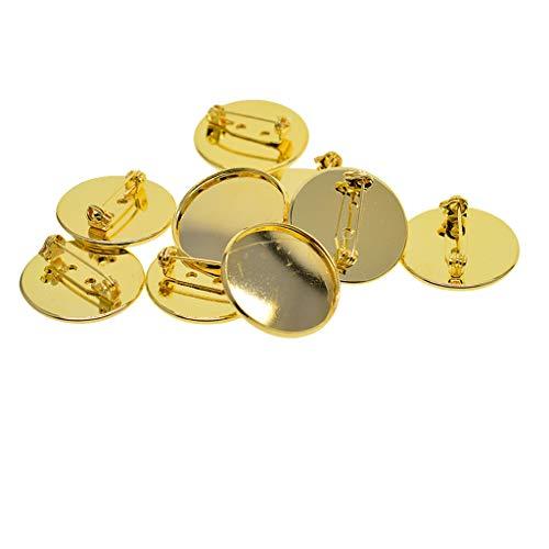 B Baosity 10 pcs Cabochon Brosche Basis Rohlinge Tablets Stifte DIY Entdeckungen Einstellen - Golden