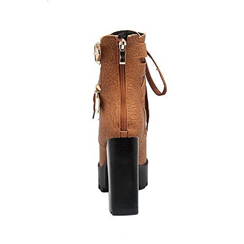 ENMAYER Femmes Casual Sexy Round toe Zip Stiletto Talons hauts Plateforme Lace up Martin Ankle Boots Caramel