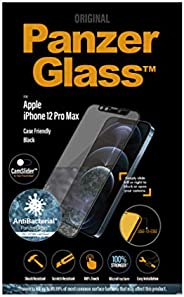 PanzerGlass Cam Slider Black Frame Screen Protector - Edge-to-Edge Tempered Glass w/Anti-Microbial Surface and