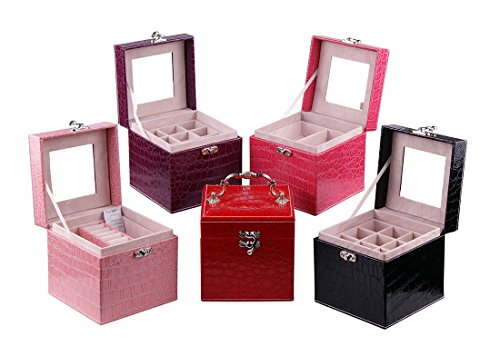 Sinoba Schmuckschatulle Schmuckkasten Schmuckkoffer Schmuckkästchen + 3 Innenfächer (Pink)
