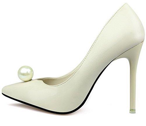 AalarDom Damen Mittler Absatz Spitz Zehe Ziehen Auf Blend-Materialien Pumps Schuhe Aprikosen Farbe-Juwelen