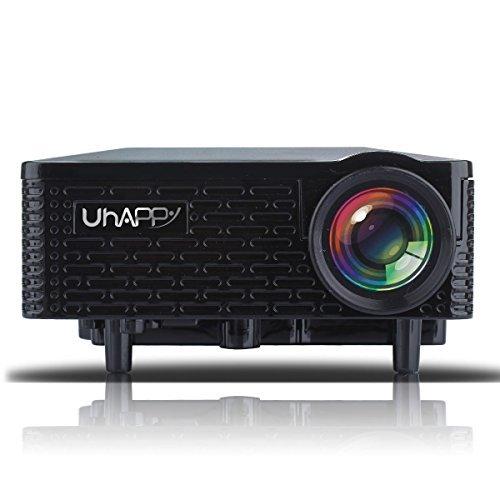 UHAPPY U18Tragbarer Mini HD LED-Projektor Home Cinema Theater Movie Kino-Projektor, Unterstützung PC Laptop VGA AV SD USB-HDMI-Eingänge, 20000Stunden LED-Lebensdauer mit Anleitung, Fernbedienung) schwarz (6000 Lumen-led-projektor)