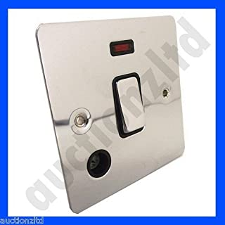GET Ultimate 20AX DP Switch with Neon and Flex Outlet Polished Chrome Black Interior 20 Amp 20A Double Pole GU2214BPC Ultra Slim Heater Switch Mirror Finish