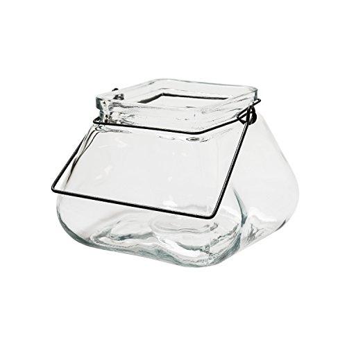 JODECO GLASS Windlicht mit Henkel aus Glas Trapez Vase Laterne Glaslaterne S: B14 x T14 x H11 cm, ca. 1,1 Liter