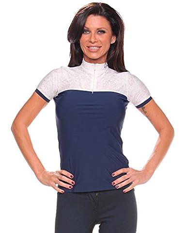 Horse Fashion Edition, Reiten Bluse, Competition Shirt, Kurzärmeliges Turniershirt, Marine mit weißer Spitze, Reithose, Reitausrüstung (M40)