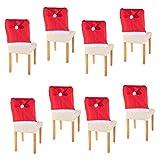 Smartfox 8X Stuhlhusse Stuhlabdeckung Stuhlbezug Weihnachten Nikolausmütze Weihnachtsmann Santa Claus Deko Filzmütze