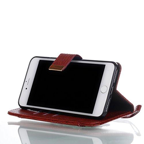 Coque iPhone 7 Plus, iPhone 8 Plus Coque, Voguecase Housse en PU Cuir avec Support Fonction Étui de Protection Magnétique avec Porte-cartes pour Apple iPhone 7 Plus/iPhone 8 Plus 5.5 (Crocodile grain  Crocodile grain II-Rouge