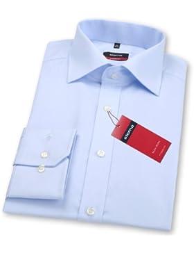 Tailliertes hellblaues Redline Hemd mit Kentkragen, Popeline Qualität, normal cm Armlänge, Größe 40 von eterna